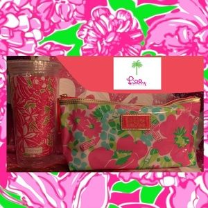Lilly Pulitzer Make up bag with Tumbler set